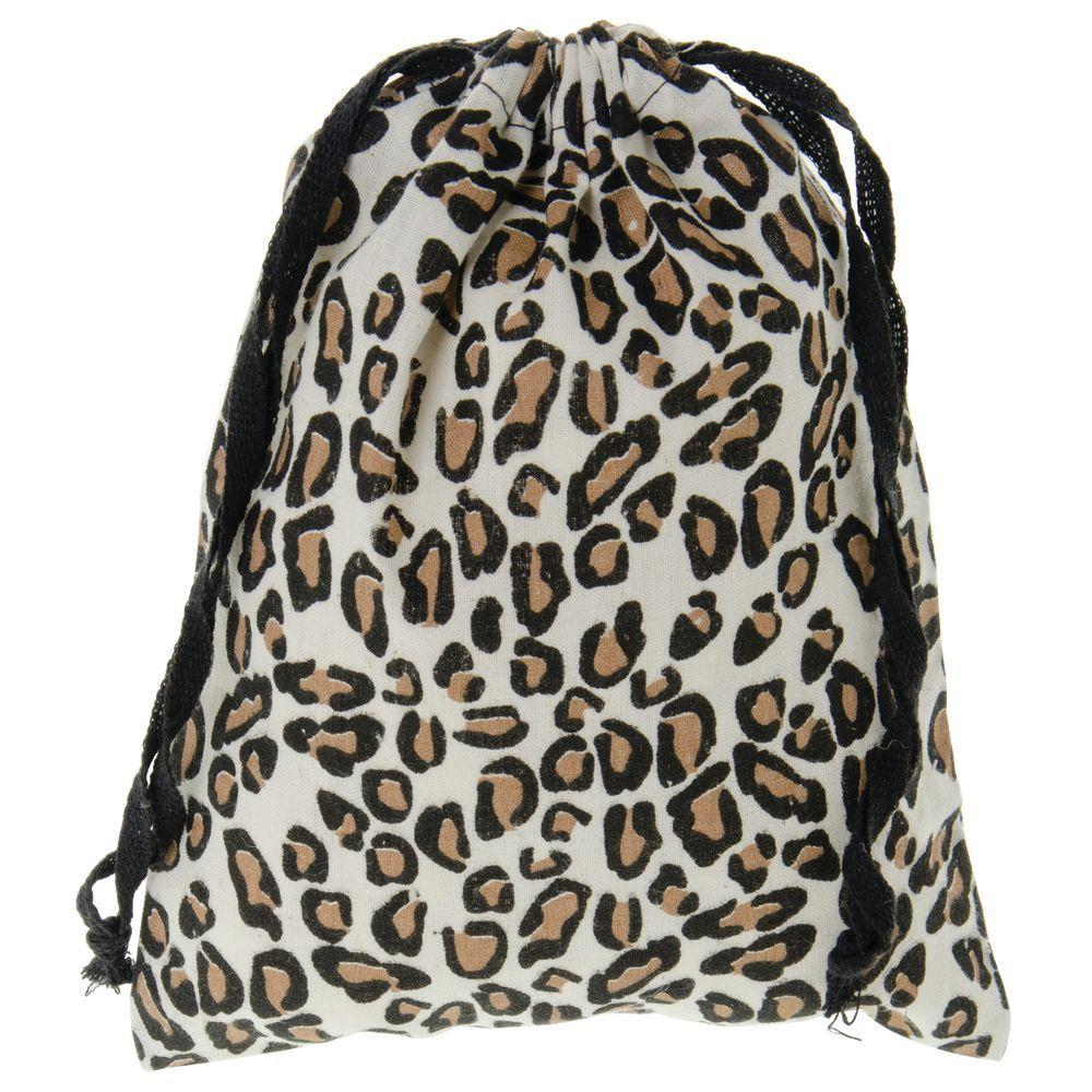 leopard drawstring pouches large