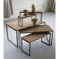 Iron & Wood Nesting Retail Display Risers, Set 5