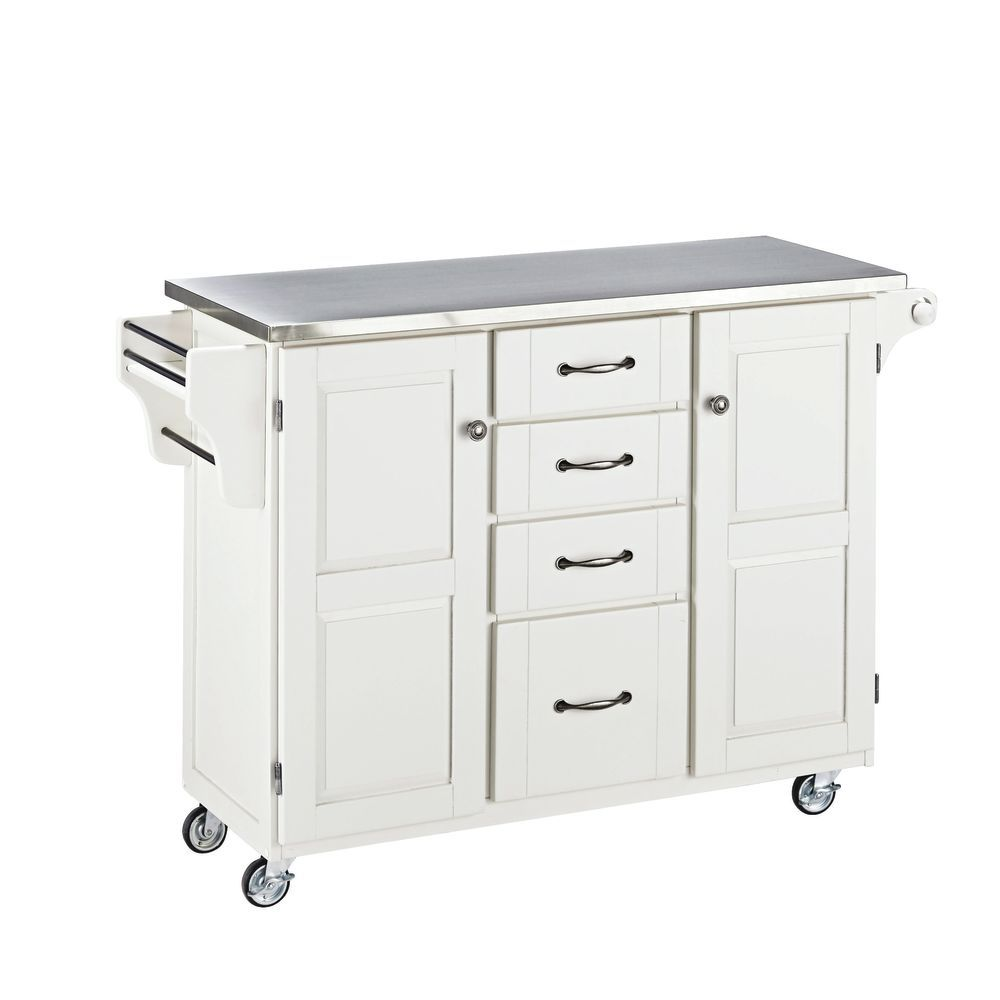 Large Mobile Kitchen Cart White Base w Stainless Steel Top