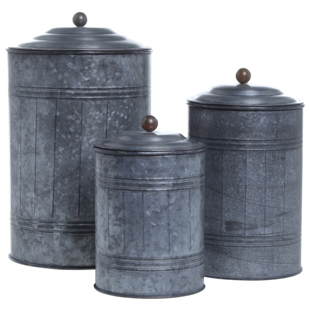 Galvanized Canisters Set of 3
