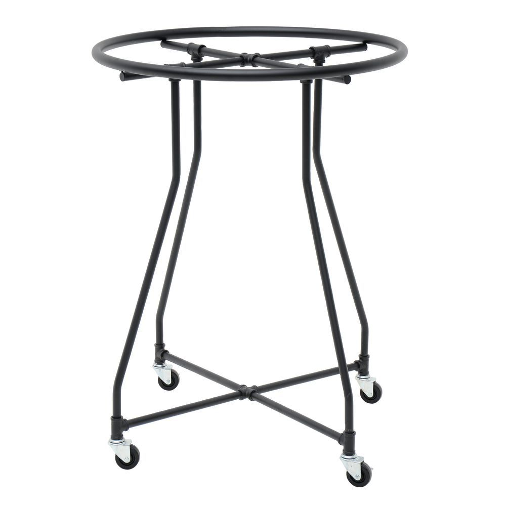 round clothing rack with industrial pipe look