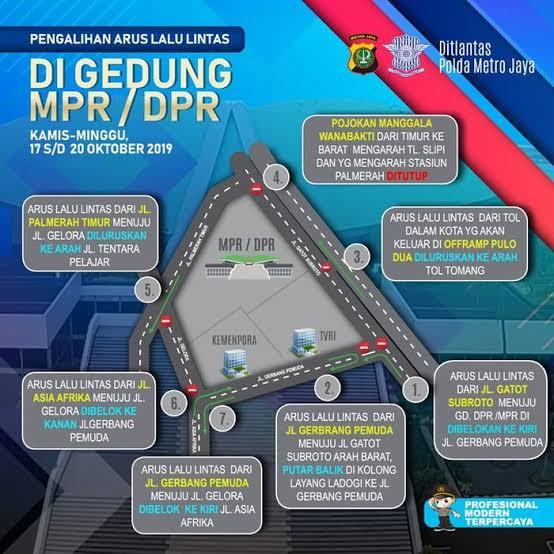 Rekayasa Lalin  dan Penjagaan Ketat di Kawasan Gedung DPR/MPR RI