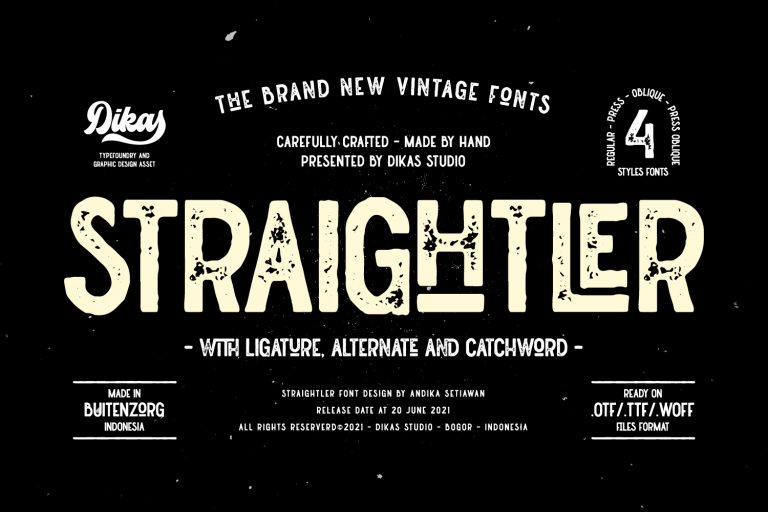 Preview image of Straightler – Oldpress Font!