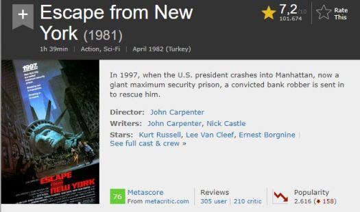 En İyi Aksiyon Filmleri Newyork'tan Kaçış