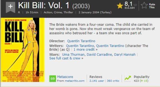 En İyi Aksiyon Filmleri Kill Bill