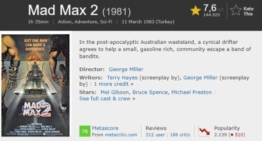 En İyi Aksiyon Filmleri Mad Max 2