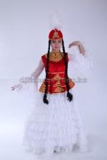 Казахский костюм для девочки с баской. Красный