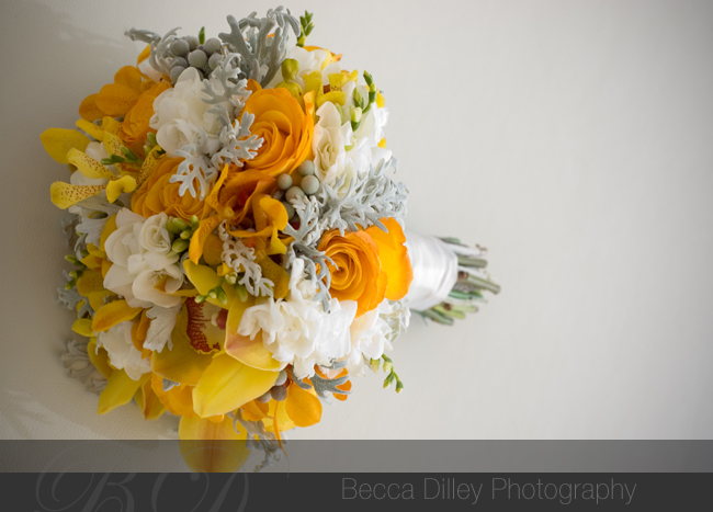 orange and silver flowers, wedding flowers