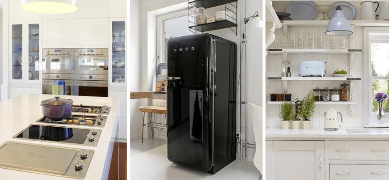 Left - Smeg's Classic Ovens & Cooktops; Center - Smeg Retro FAB Fridge; Right - Smeg Retro Small Appliances
