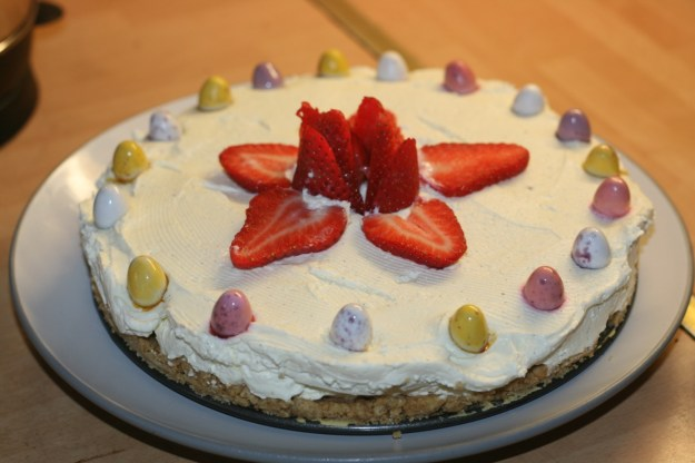 This is our homemade strawberry and mini egg cheesecake