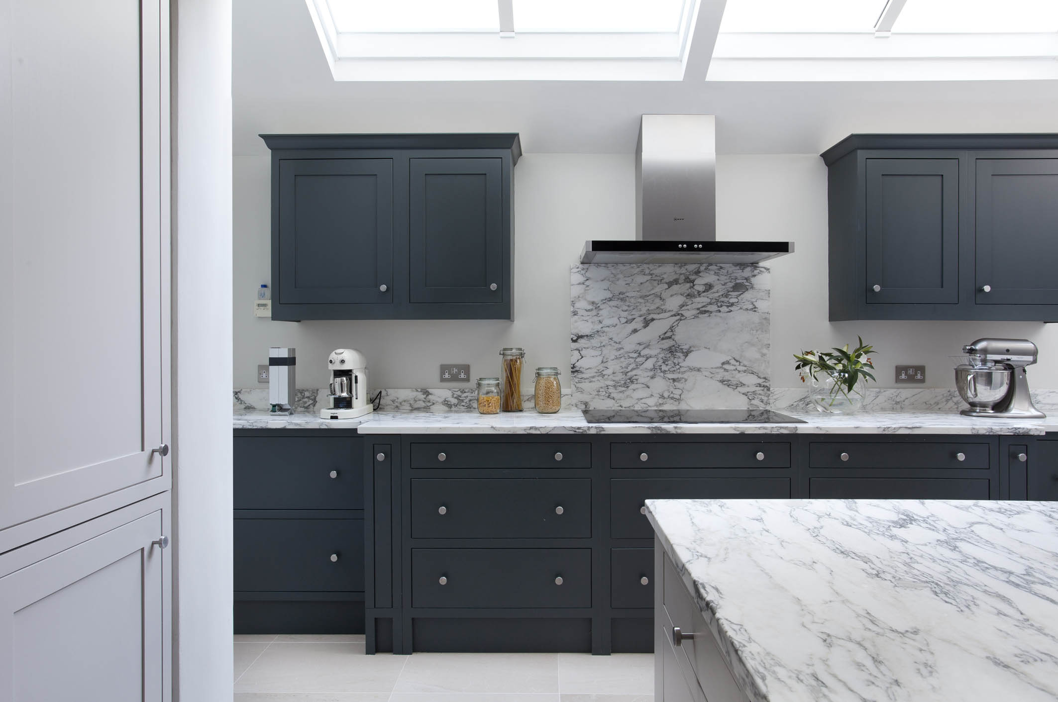 solid wood kitchen island faucet diverter farrow & ball downpipe and purbeck stone kitchen, blackrock