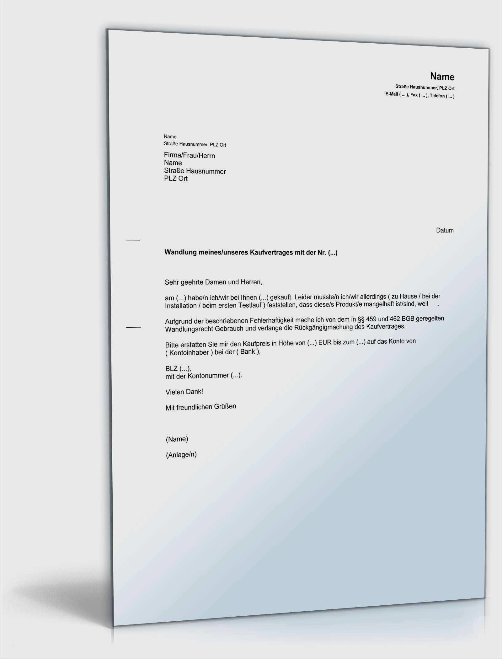 Muster Kaufvertrag Küche Privat  Hübsch Rückabwicklung