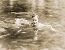 Greta Garbo Swimming at Beach