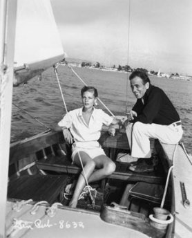 Lauren Bacall and Humphrey Bogart sailing