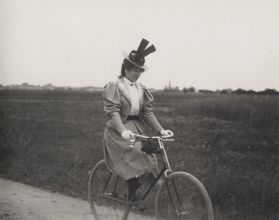 Jeanne on a bicycle