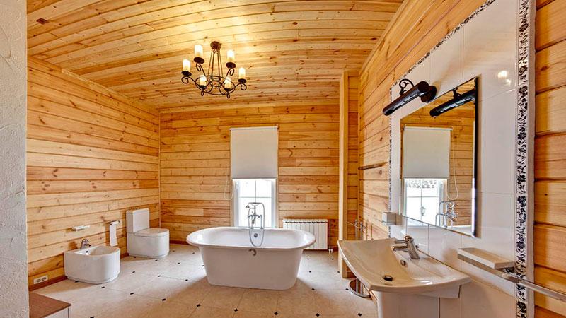 Дизайн интерьера кухни деревянного дома из бруса внутри 196