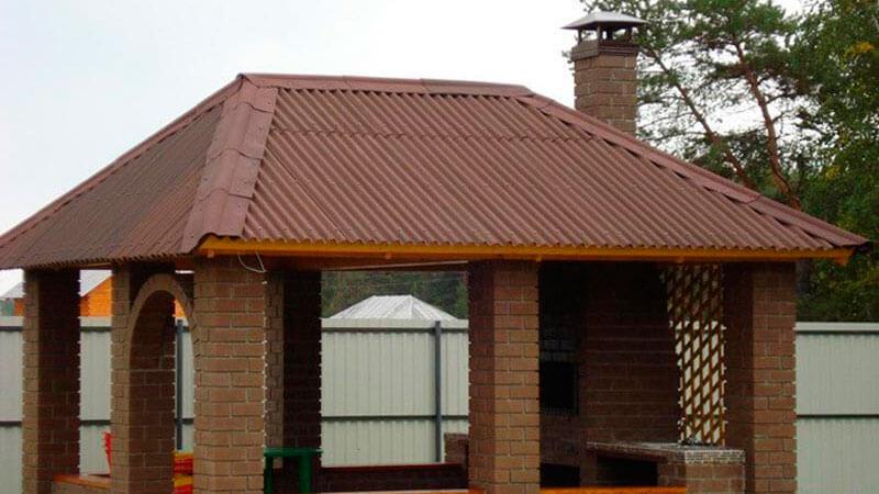 крыша беседки из кирпича