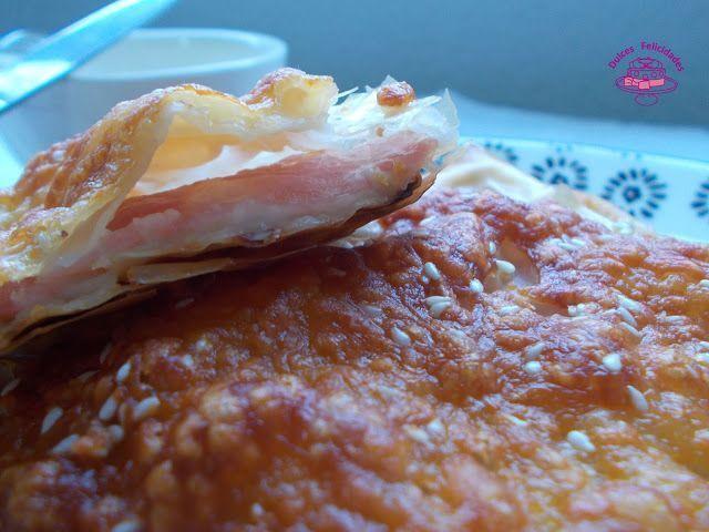 Cuadrados de pasta filo con jamón york y queso