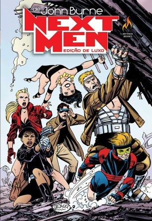 Capa da edição brasileira de Next Men, publicada no Brasil pela Mythos Editora