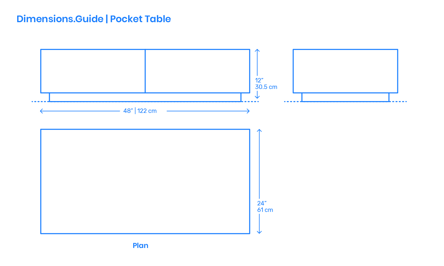 pocket table dimensions drawings