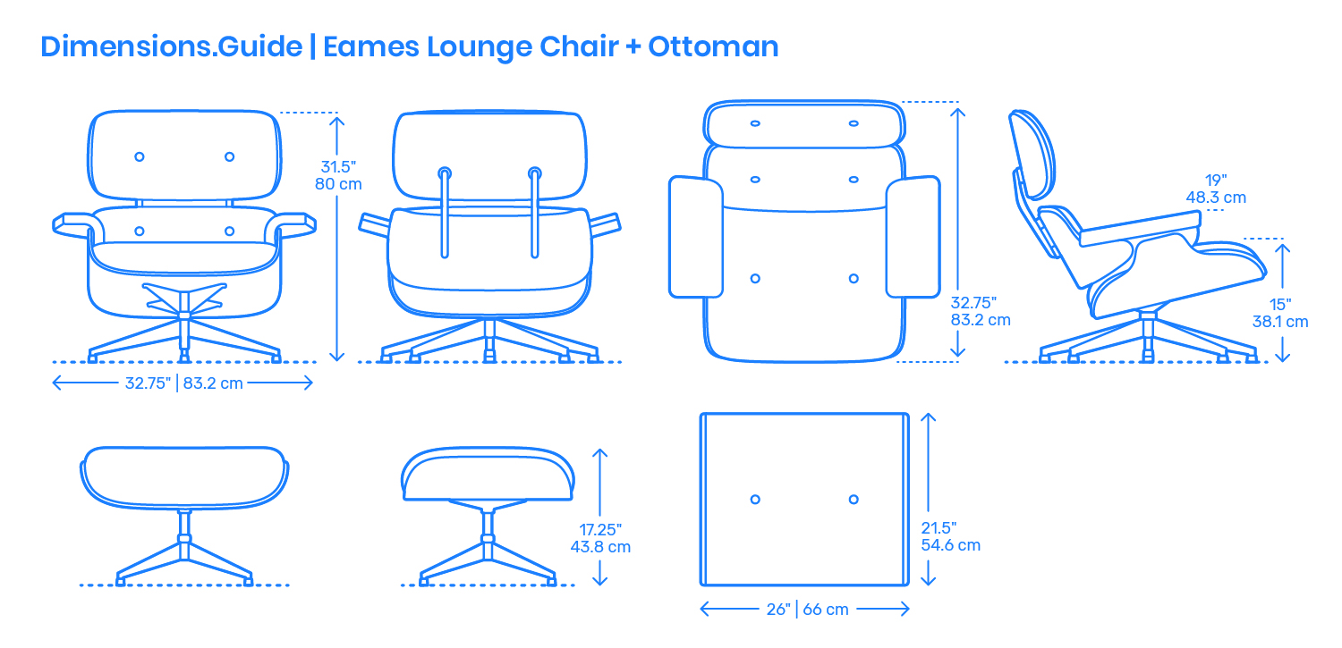 Eames Lounge Chair Ottoman Dimensions Drawings Dimensions Com