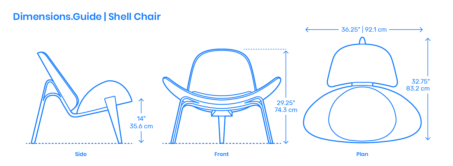 Shell Chair Dimensions  Drawings  DimensionsGuide