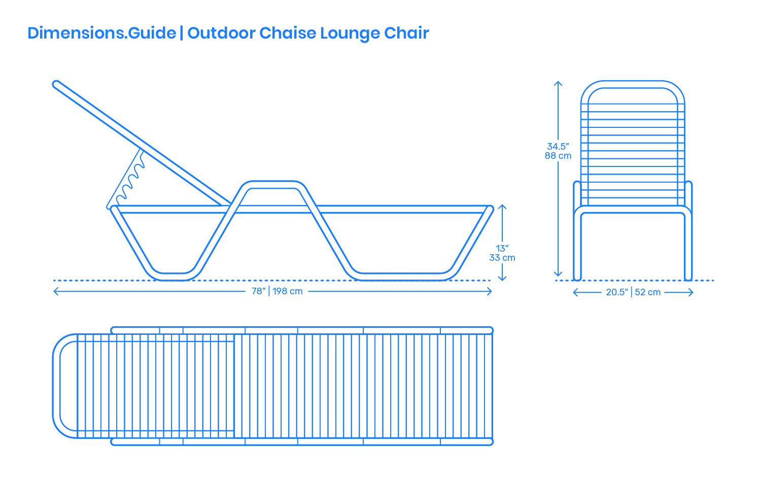 Outdoor Chaise Lounge Chair Dimensions  Drawings
