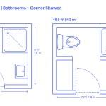 Corner Shower Bathrooms Dimensions Drawings Dimensions Com