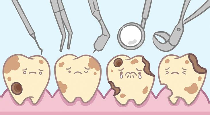 cartoon of dental tools and diseased teeth