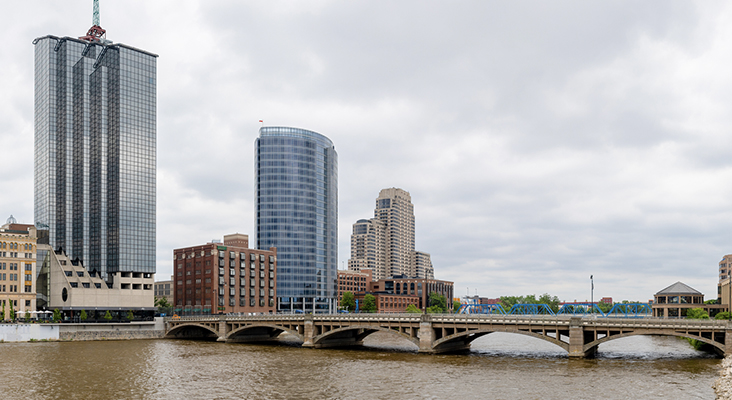 Grand Rapids city skyline, in the state of Michigan, United States, as seen across the Grand River