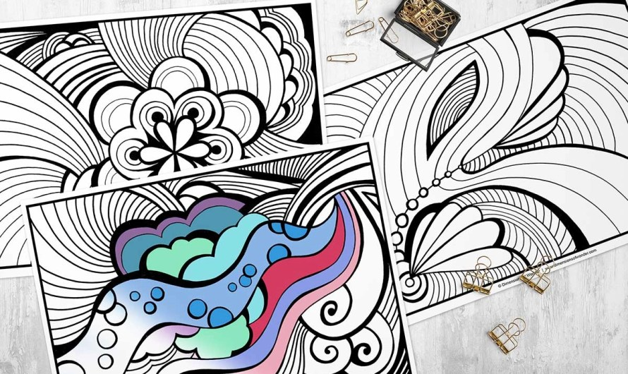 Abstract Coloring Pages for Adults (Printable)