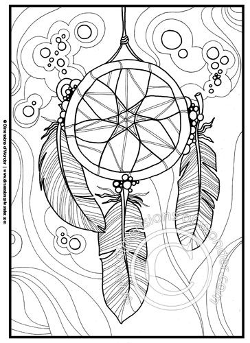native american coloring pages printable dreamcatcher feathers