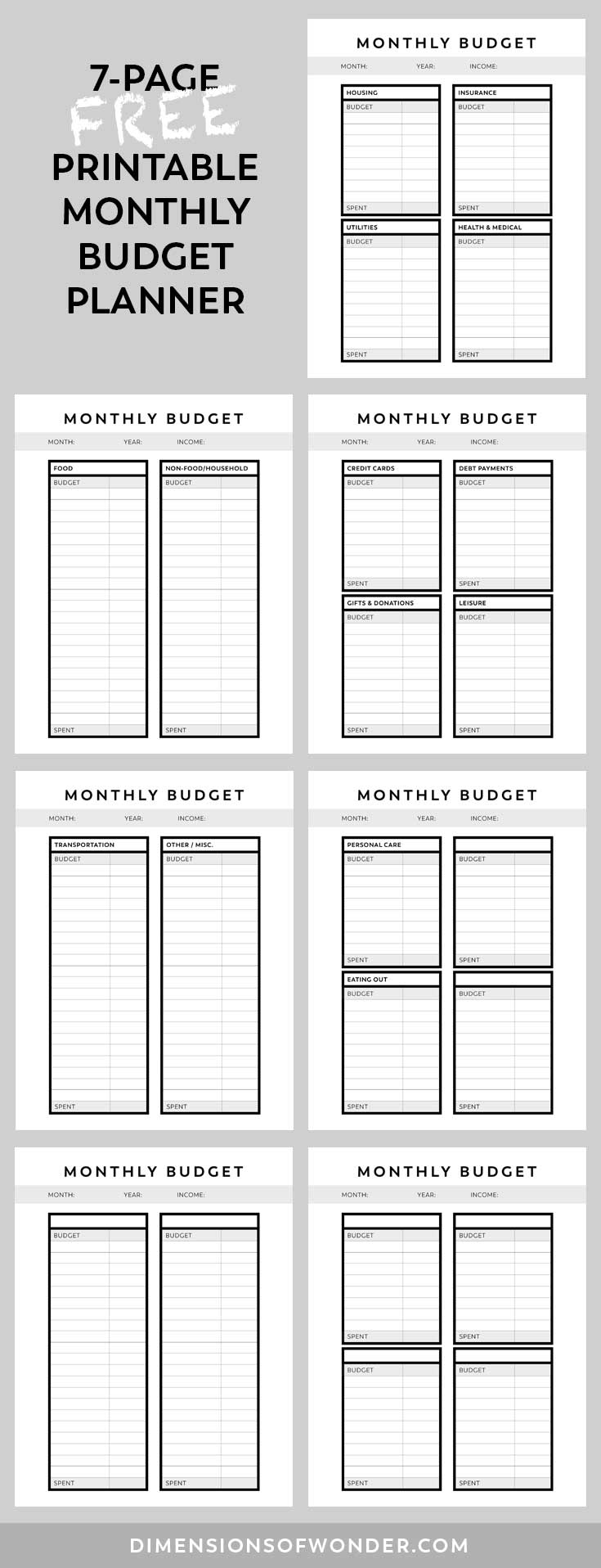 Overview of the free printable monthly budget planner's 7 pages.