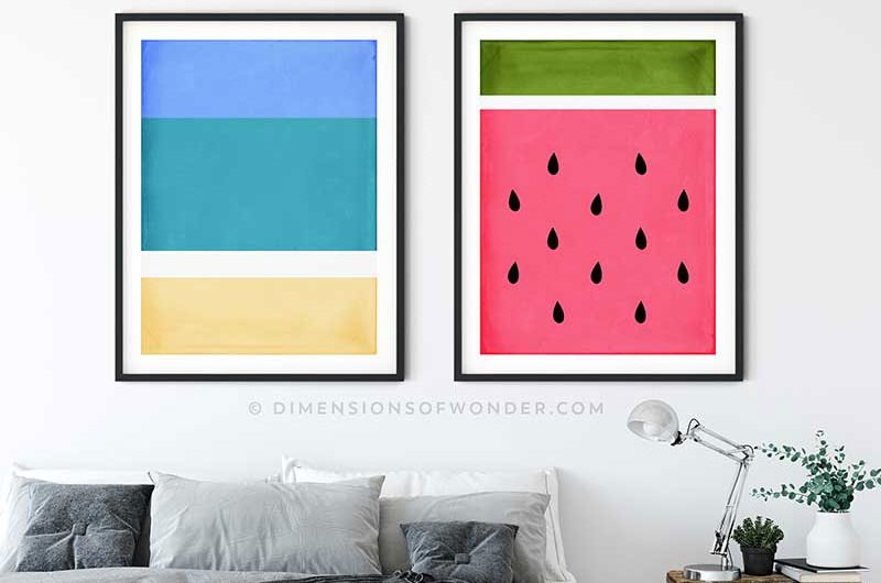 Tropical Beach & Watermelon Printable Modern Geometric Wall Art