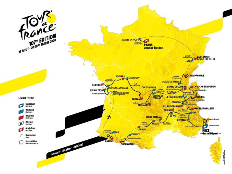 Carte du tour de France 2020 Aout Septembre