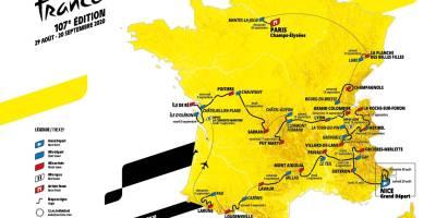 Carte du tour de France 2020 Aout Septembre