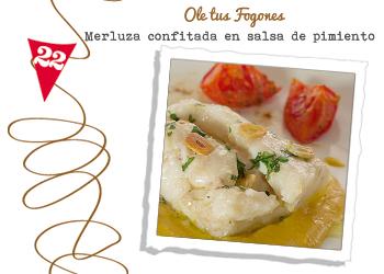 Merluza confitada en salsa de pimiento amarillo