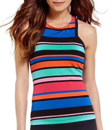 Jag Caribbean Sunset Stripe High Neck Tankini & Core-solid