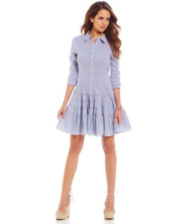 Gianni Bini Michelle Shirt Dress With Ruffle Skirt Dillards