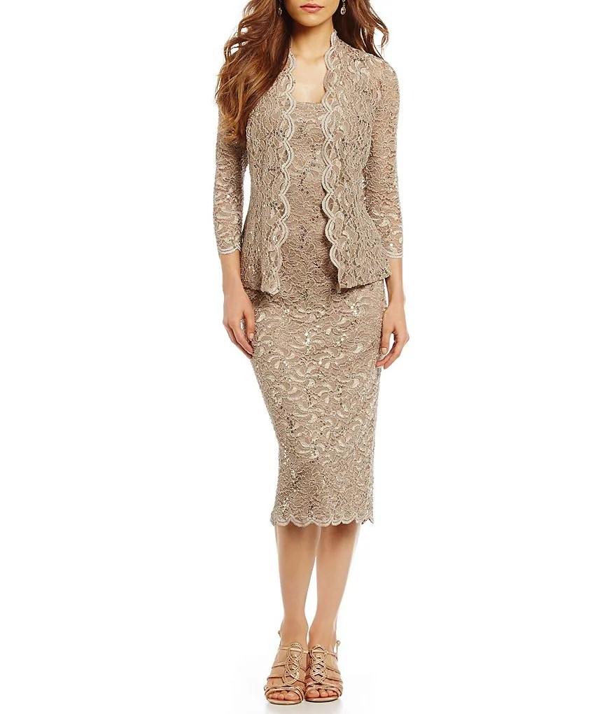 Alex Evenings Scalloped Lace Midi Jacket Dress  Dillards