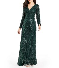 Cachet Sequin V-neck Gown | Dillards