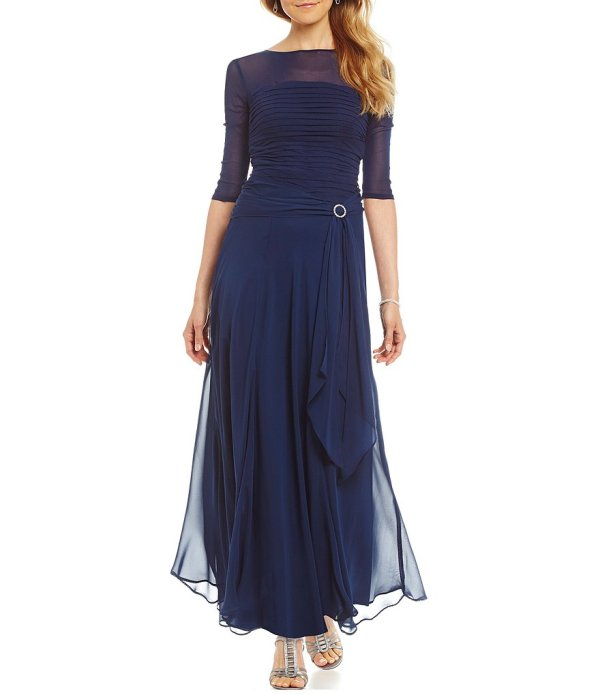 Sangria Shirred Illusion Gown Dillards