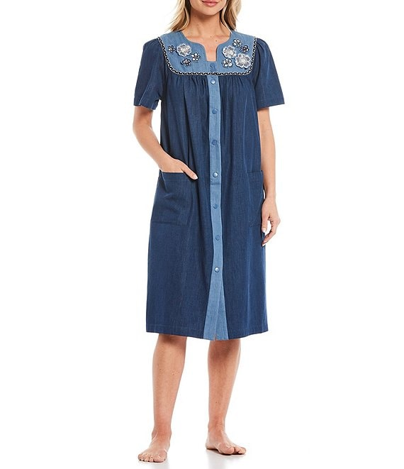 go softly floral embroidered denim snap front patio dress