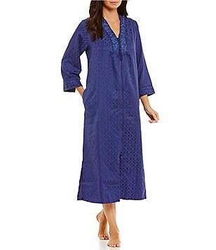 miss elaine embroidered satin fleece tasseled zip robe