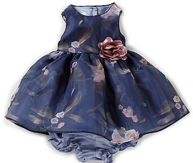 Laura Ashley Baby Girls Newborn 9 Months Floral Print Sleeveless Dress