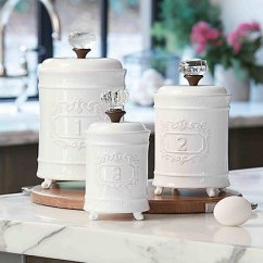 Kitchen Canister Pre Owned Cabinets For Sale Canisters Dillards Mud Pie 3 Piece Farmhouse Circa Vintage Doorknob Set