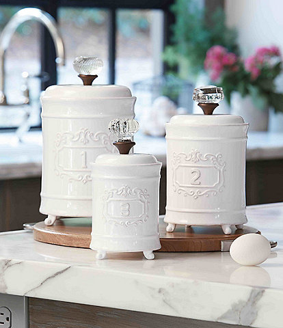 canisters kitchen green towels dillards mud pie 3 piece farmhouse circa vintage doorknob canister set