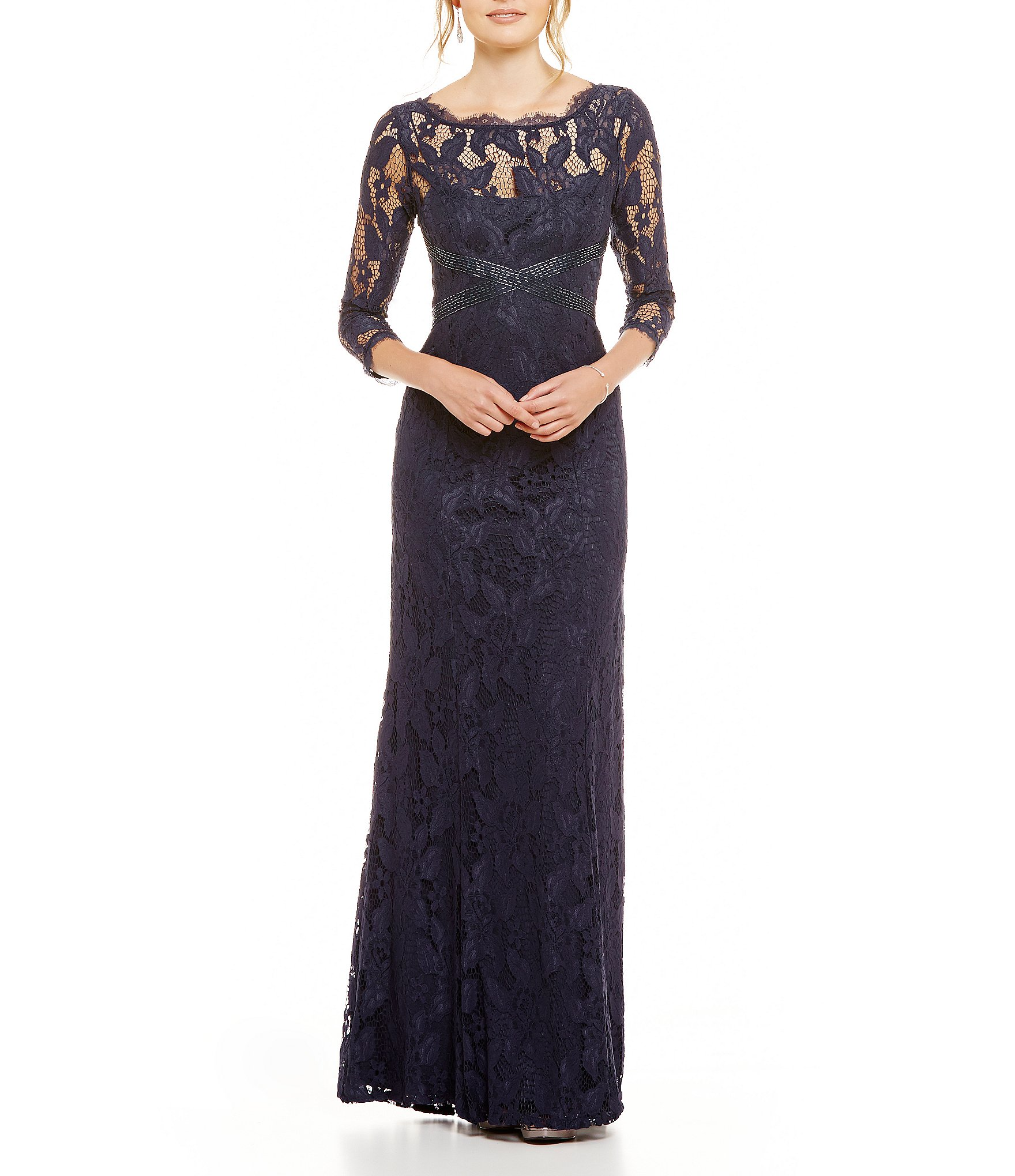 Adrianna Papell Beaded Lace 34 Sleeve Gown Dillards