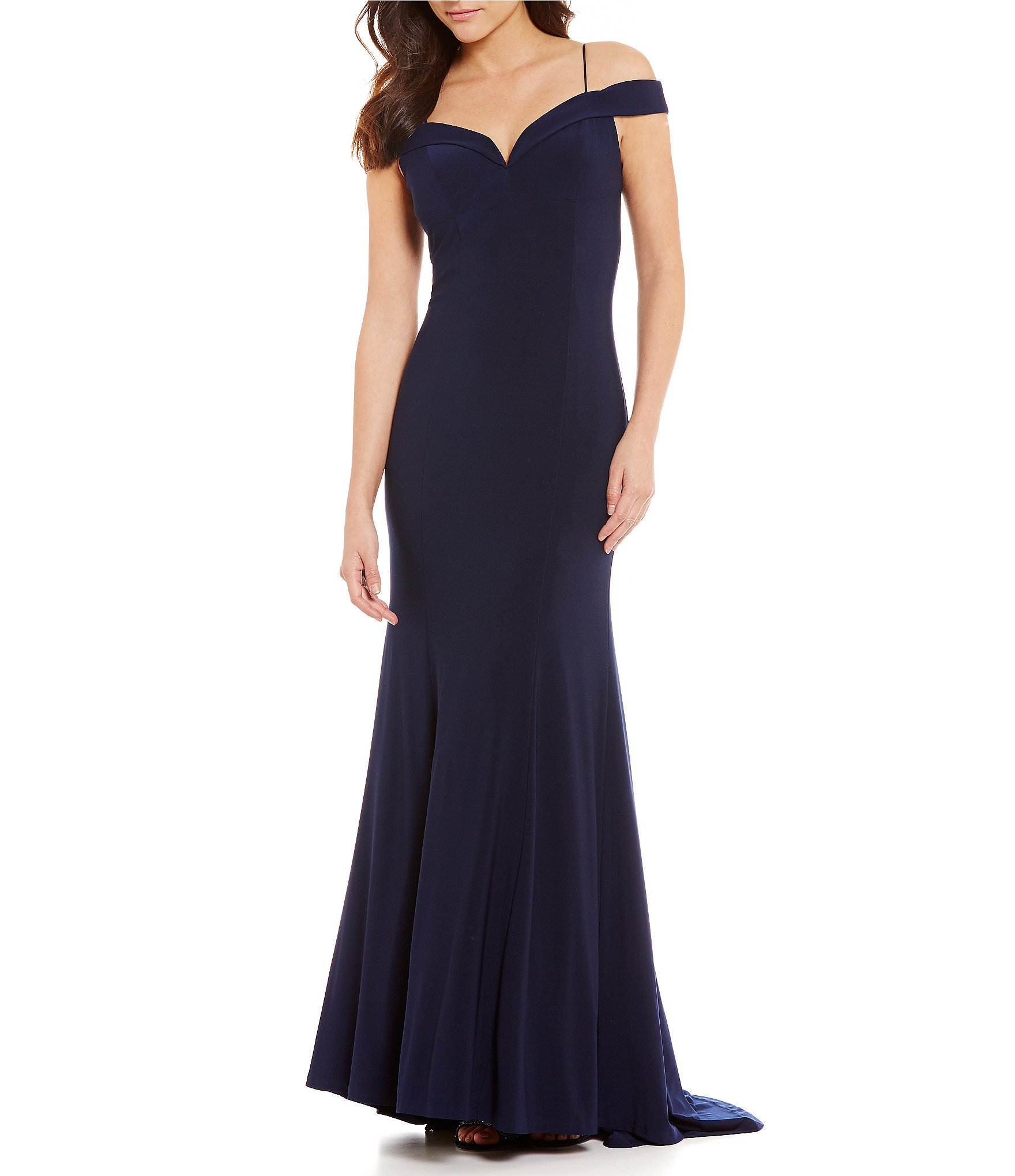 Adrianna Papell Cold Shoulder Mermaid Gown  Dillards