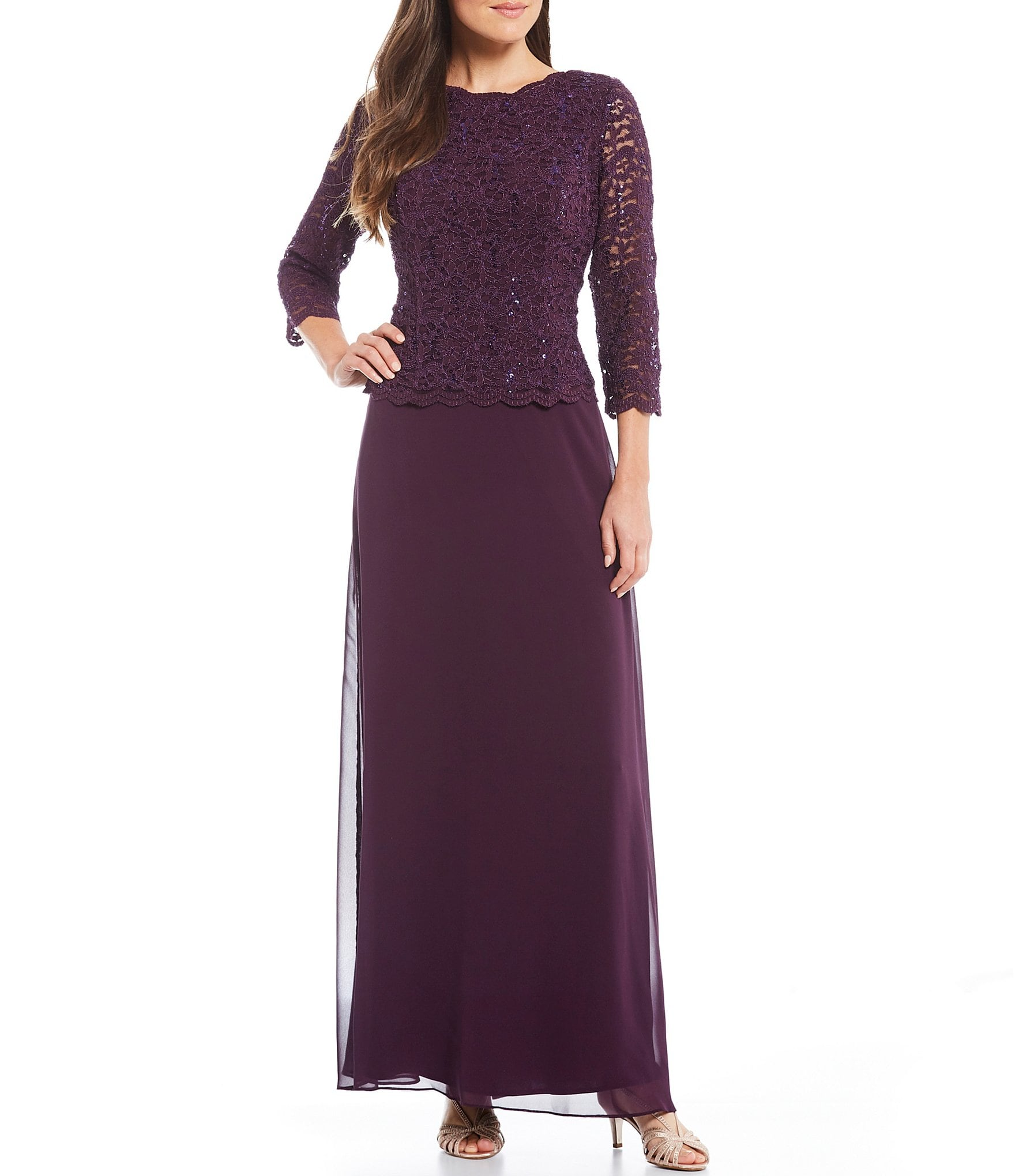 Alex Evenings Sequined Lace  Chiffon Gown  Dillards